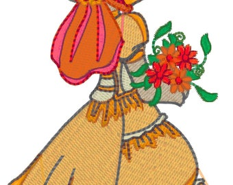 5x7 Hoop  Bonnet Flower Machine Embroidery Designs. Downloadable zip files Pes, Jef, Vp3, Dst, formats.