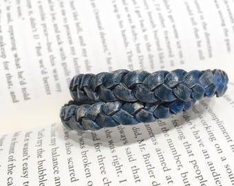 Distressed Blue Braided Double Leather Wrap Bracelet. Magnetic Clasp