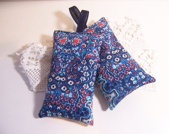 Set of two hanging lavender sachets in a beautiful blue fabric , sachet for your drawers or your bathroom . sleep aid or small gift.
