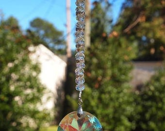 CIJ Crystal Car Mirror Charm, AB Crystal and Silver Rear View Mirror Charm. Gift For Her, OOAK Handmade. CKDesigns.Us