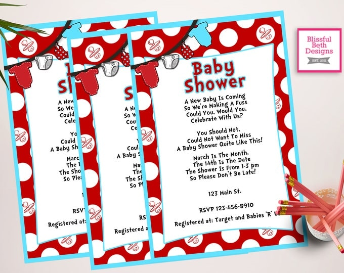 SEUSS BABY SHOWER Personalized Dr. Seuss Baby Shower Printable Invitation (Red and Blue), Baby Shower Invitation, Dr. Seuss Onesie