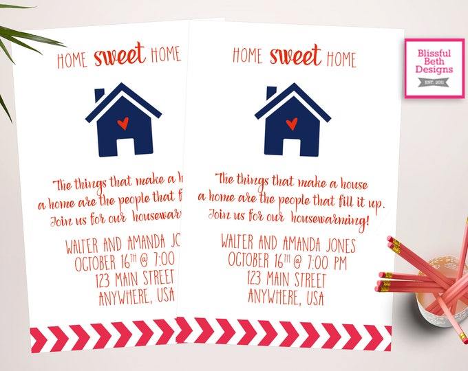 HOUSEWARMING INVITATION, Housewarming Invitation, Home Sweet Home, House Warming, Housewarming Invite New Home