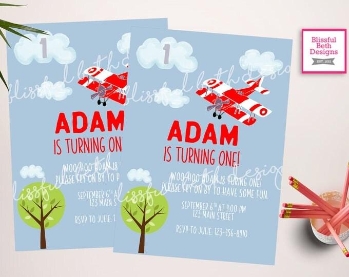 PLANE FIRST BIRTHDAY Plane Birthday Invitation, Printable First Birthday Invitation, First Birthday Invite, Plane Invitation, Fly On By