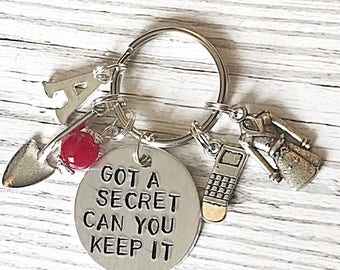 Got A Secret Keyring, Got A Secret Can You Keep It Keychain, PLL Keyring, PLL Quote Keyring, Hand Stamped Keyring, Gift For Women