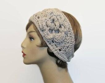 Crochet Headband with Flower Beige  Ear warmer Crochet Ear Warmer Beige knit Headband Oatmeal ear warmer Oatmeal  head wrap Linen Headband