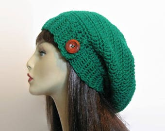 Crochet Green Slouch Hat with Button Emerald Green Slouch Beanie green knit Slouch Cap Women Crochet Tam Green Crochet Hat Green slouch hat