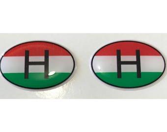 "Hungary H Domed Gel (2x) Stickers 0.8"" x 1.2"" for Laptop Tablet Book Fridge Guitar Motorcycle Helmet ToolBox Door PC Smartphone"