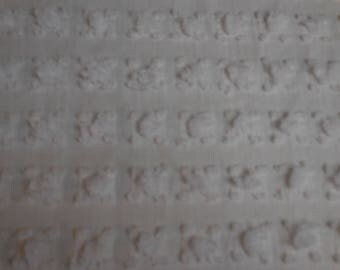 "Beautiful and RARE Vantona White ROSEBUDS Vintage Chenille Bedspread Fabric - Made in Great Britain - 19"" X 24"""