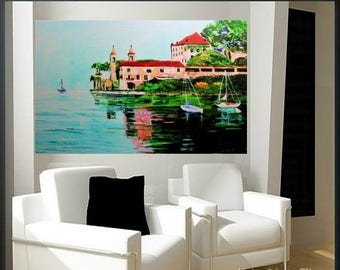 SALE Limited small  edition giclee on canvas of oil painting  of Italy by Nicolette Vaughan Horner