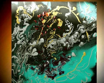 """Original 24""""Contemporary Modern Fluid painting,Turquoise,Black,silver,lots of texture Ready to hang  by Nicolette Vaughan Horner"""