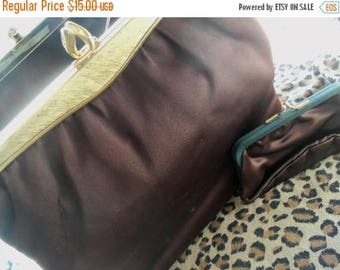 On Sale Vintage Brown Satin Purse with Coin Purse 1960's Handbag Twifaille by Rosenfeld