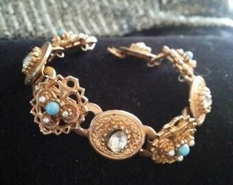 Now On Sale Vintage Rhinestone & Faux Pearl Bracelet 1940's 1950's Retro Collectible Vintage Jewelry