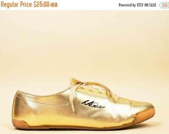 80s Vtg Iconic L.A. GEAR Gold Metallic Lace Up Sneakers / Glam New Wave Casual Shoes 7.5 Eu 38