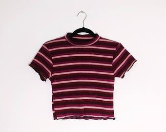 Magenta Multi Stripe Crop Top Made to Order Deadstock Vintage Fabric Limited Edition 70s 90s Inspired