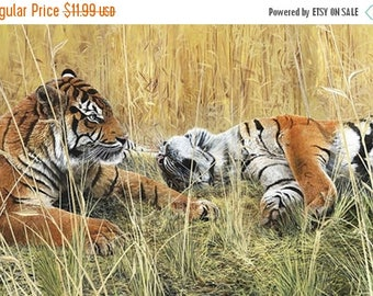 20 % off thru 7/4 FIELDS OF GOLD Northcott digitally printed panel cotton quilt fabric 28 by 42 inches tigers in the grass