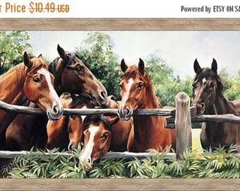 20 % off thru 7/4 PLEASANT PASTURES Northcott digitally printed panel cotton quilt fabric 24 by 42 in HORSES in the corral~Dp21411-34