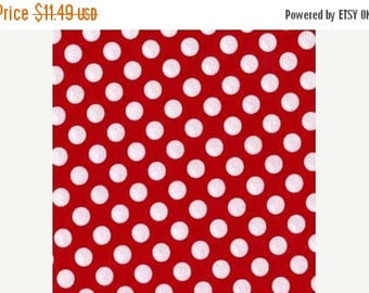12% off thru July TA DOT   by the yard white polka dots on cherry red cotton Fabric by Michael Miller MINNIE Mouse