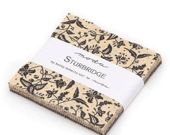 "12% off thru July charm pack  STURBRIDGE moda  5"" Fabric squares Kathy Schmitz black gold tan 6070PP"