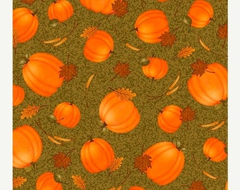 15% off thru Mar.19th HARVEST GREETINGS-by the half yard by Qt fabrics-pumpkins leaves on green Fall Autumn Quilting Treasures-25822-g
