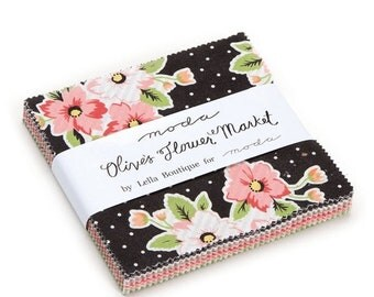 "15% off thru Mar.19th Moda Charm pack OLIVES FLOWER MARKET from Lella Boutique 42 5"" squares cotton fabric Pink Black Floral 5030Pp"