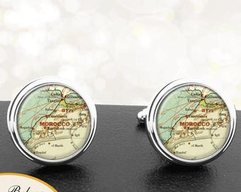 Antique Map Cufflinks Casablanca Morocco Africa Cuff Links for Groomsmen Groom Fiance Anniversary Wedding Fathers Dads Men