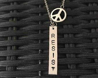 Resist Necklace, Stamped Necklace, Peace Sign Necklace, Equal Rights Necklace, Anti Trump, Silver Peace necklace, Protest