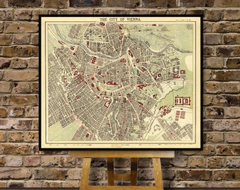 Vienna map - Old map of Vienna print - Wien map - Old city map print - Fine archival reproduction