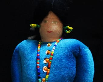 Vintage American Indian Cloth Doll 9 1/2 inches tall