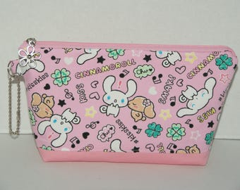"Large Padded Zipper Pouch/Pencil Case/Cosmetic Case with Pocket Made with Japanese Cotton Oxford Fabric ""Cinnamoroll - Kiss"" Pink"