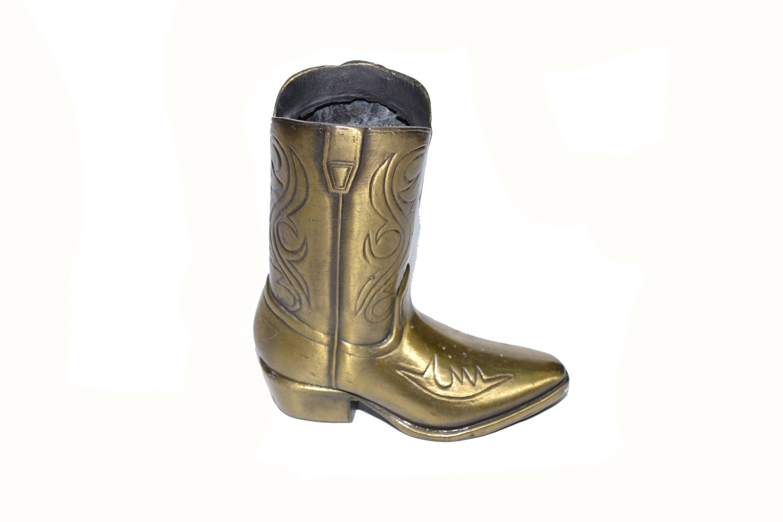 Vintage brass cowboy boot cowboy boot vase cowboy boot planter brass home decor floridaeventfo Images