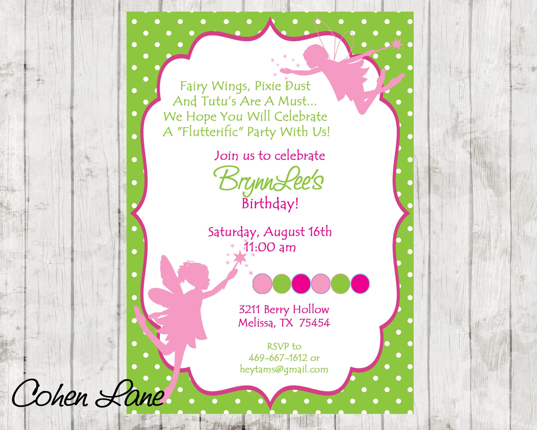 Fairy Invitation. Fairy Birthday Invite. Fairy Princess