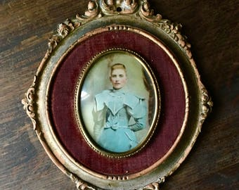 Antique Cameo Portrait / beveled glass / velvet and gold frame.