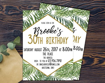 Tropical Birthday invitation, tropical invitation, DIGITAL INVITATION, PRINTABLE palm print, palm trees, green, white, gold