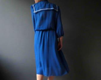 80s Blue White Nautical Sailor Collar Dress Small