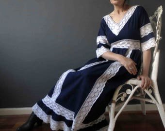 70s Navy Blue White Cotton Lace Boho Maxi Dress Empire Line Small