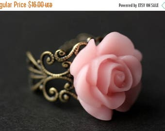 SUMMER SALE Pink Rose Ring. Light Pink Flower Ring. Gold Ring. Silver Ring. Bronze Ring. Copper Ring. Adjustable Ring. Handmade Jewelry.