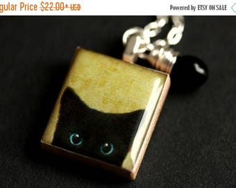 BACK to SCHOOL SALE Black Cat Necklace. Cute Kitten Necklace. Scrabble Tile Necklace with Black Teardrop. Scrabble Pendant. Handmade Necklac