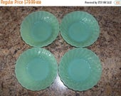 ON SALE FREE Usa Shipping-4 Vintage Fire King Jadite/Jadeite Shell Pattern Dessert Berry Bowls