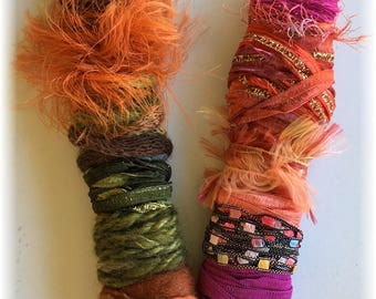 Fiber Wands..Assortment of Fibers, Yarn and Ribbon for your Creative Inspirations!