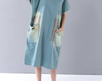 Cotton Loose Bat Sleeve cowboy dress