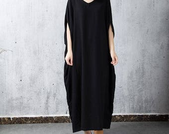 Black/ Red long dress cotton Oversize V collar dress