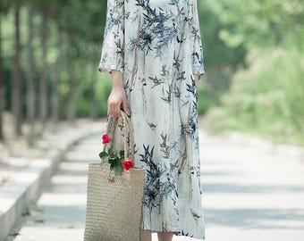 Women Printed long dress cotton and linen round collar dress