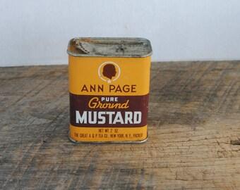 Vintage Ann Page Pure ground Mustard Tin