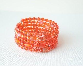 Orange Bracelet, Orange Sea Glass, Sea Glass Jewelry, Sea Glass Bracelet, Beach Bracelet, Beach Jewelry, Sparkle Bracelet, Trending
