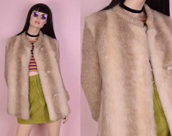 70s Faux Fur Knit Trim Jacket/ US 9/ 1970s/ Sweater