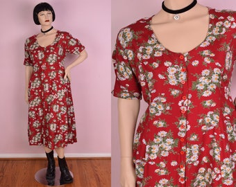 90s Floral Button Down Flowy Dress/ Large/ 1990s