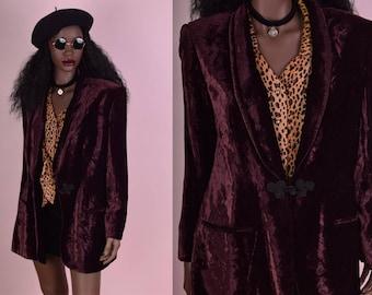 90s Crushed Velvet Blazer/ US 6/ 1990s/ Jacket