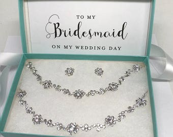 Wedding jewelry set, bridesmaid jewelry set, bridal jewelry set, Bridal backdrop necklace earrings, Crystal choker earring bracelet