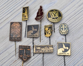 "Set of 10 Vintage Latvian badges,pins.""Latvian Port City-Liepaja"""