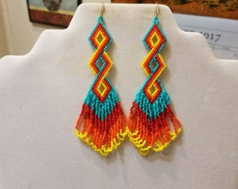 Native American Style Beaded Twisted Earrings in Turquoise, Red, Orange and Yellow Delcia Beads Southwestern, Brick Stitch, Peyote,  Boho